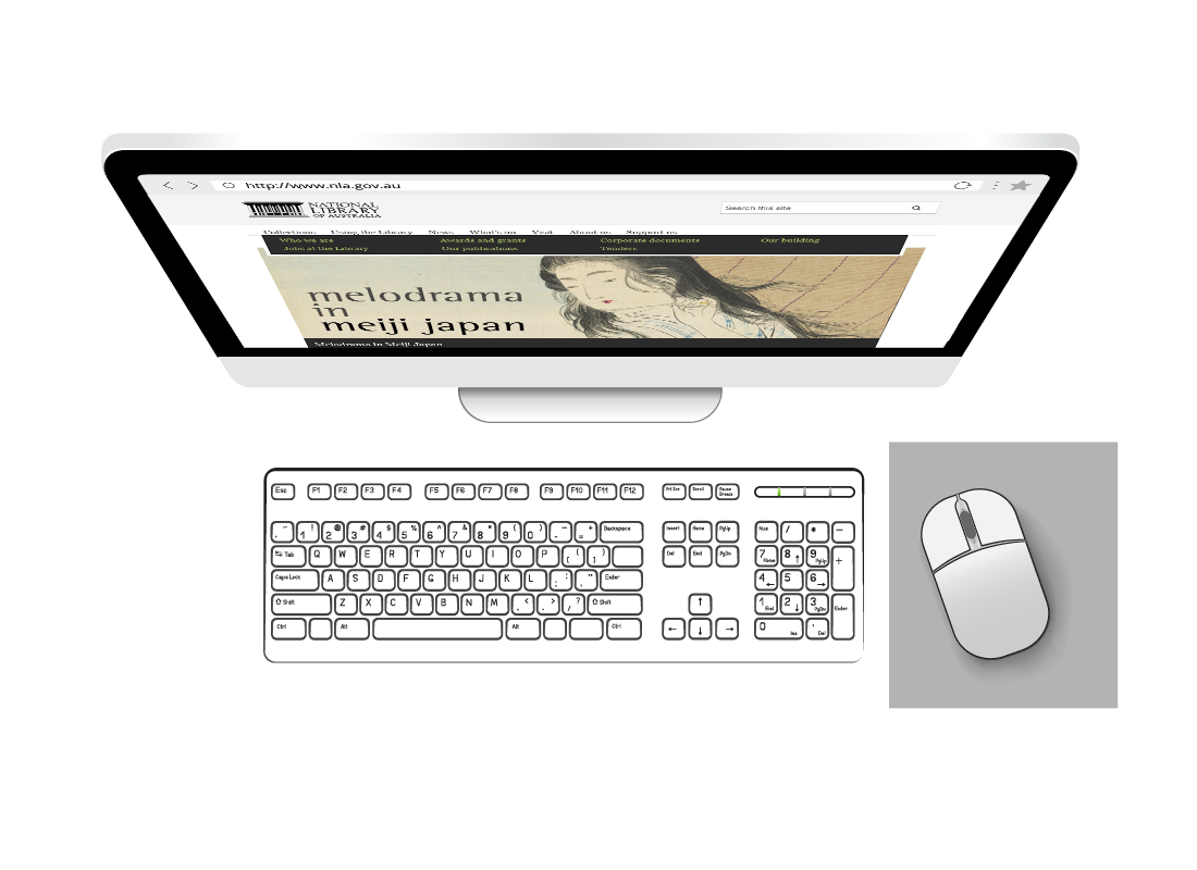 A view of a screen, keyboard and wireless mouse