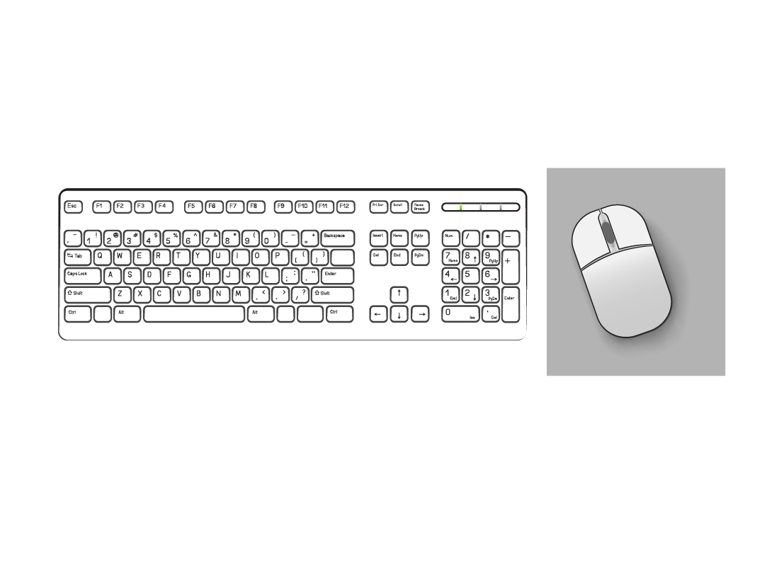 A keyboard with a mouse next to the right hand side