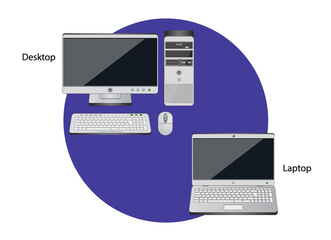 A desktop computer and a laptop computer, side by side to compare
