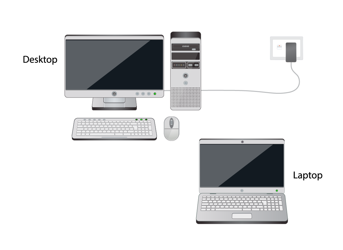 A desktop computer plugged into a wall and a laptop computer, side by side to compare
