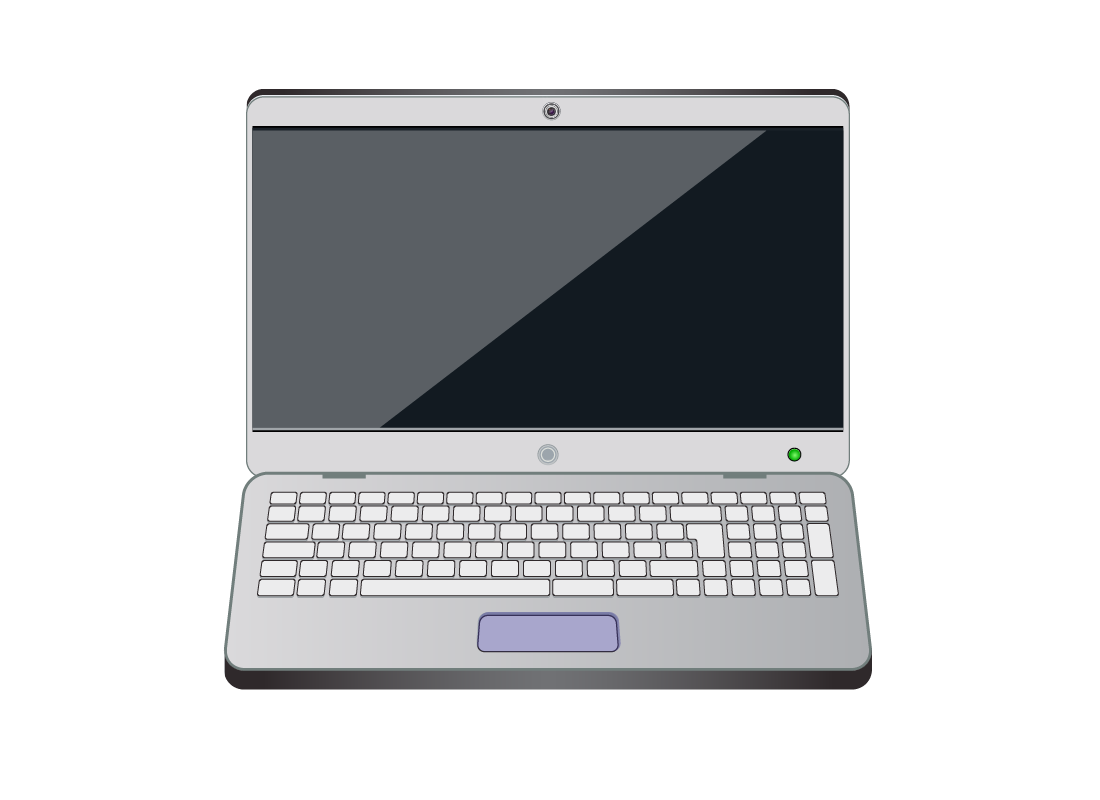 A laptop computer with the touchpad highlighted