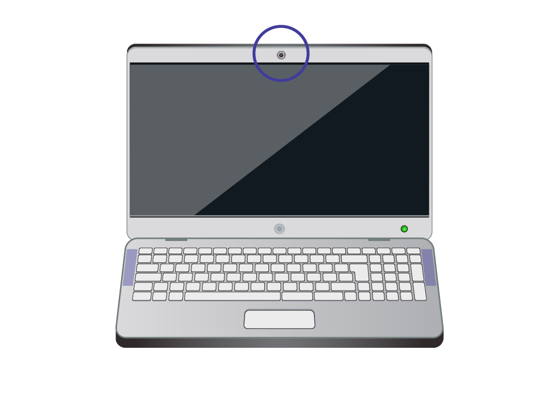A laptop computer with the camera location highlighted