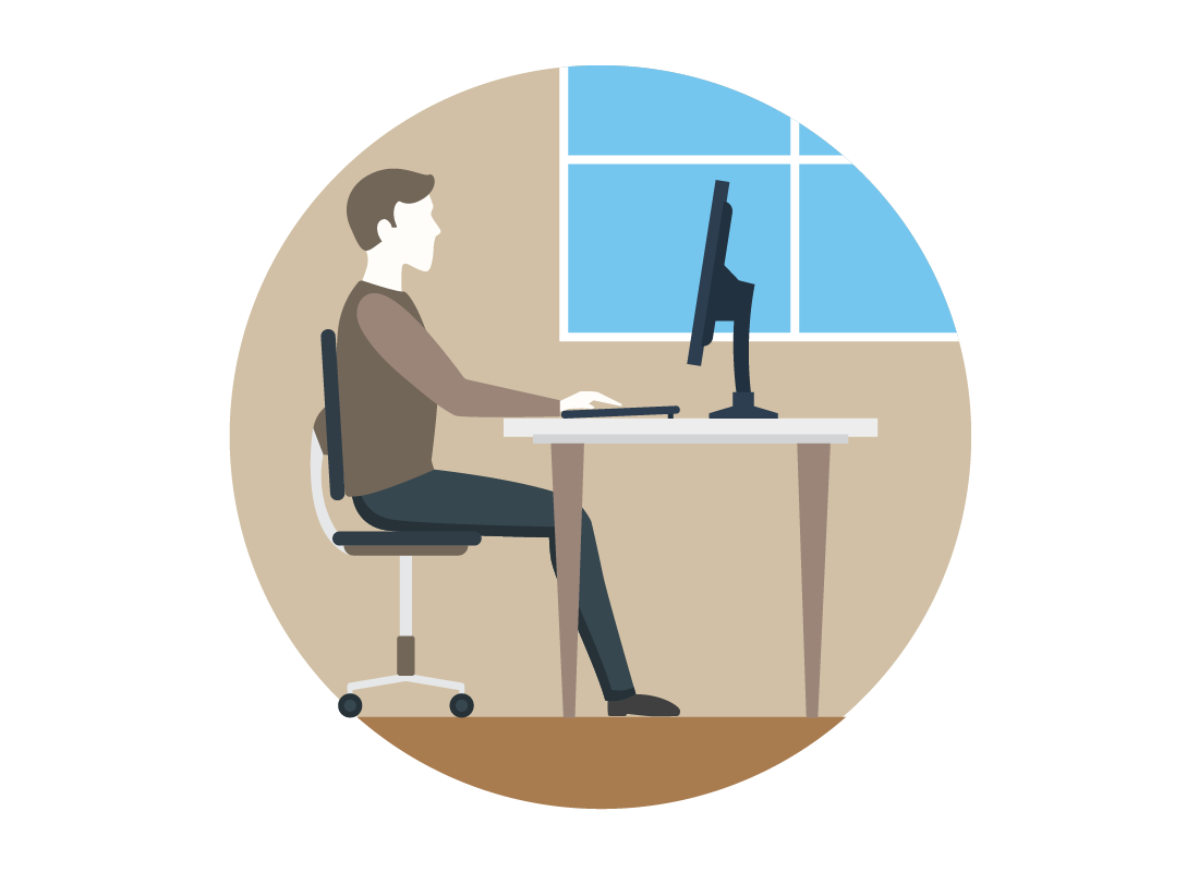 An image of someone using their desktop computer in the office