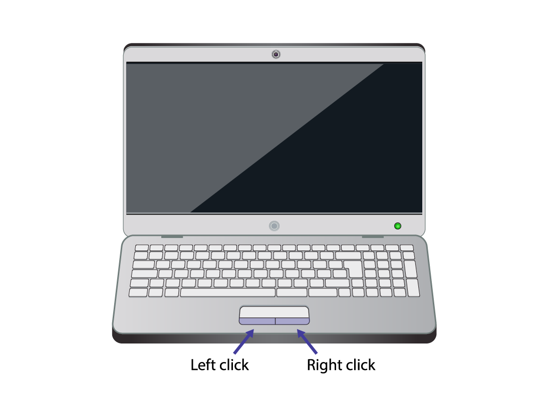 A laptop computer showing the left and right buttons for clicking
