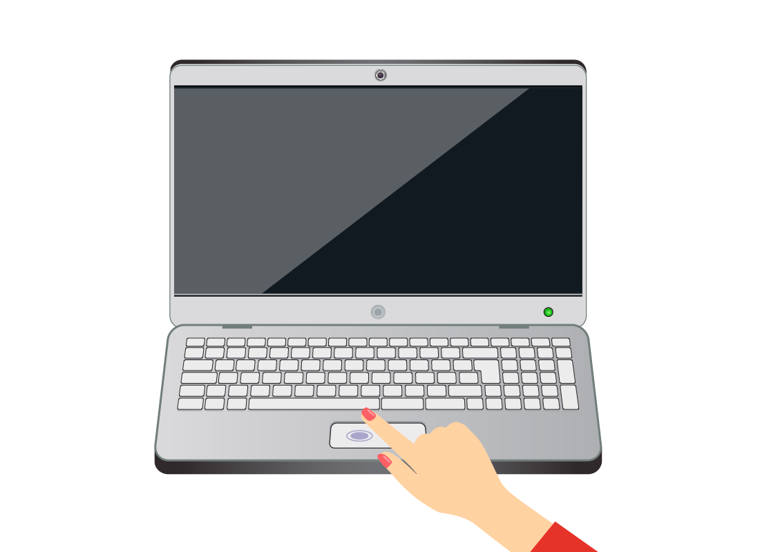 A diagram of someone tapping the touchpad on a laptop computer