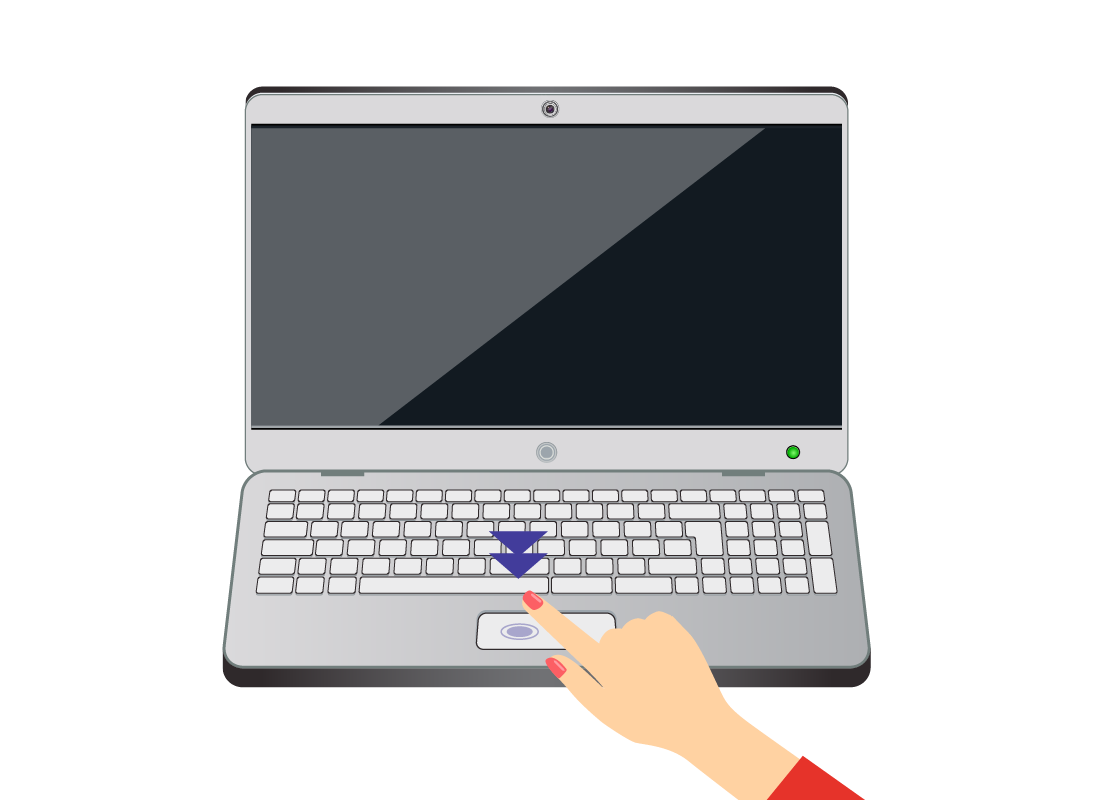 A diagram of someone double tapping the touchpad on a laptop computer