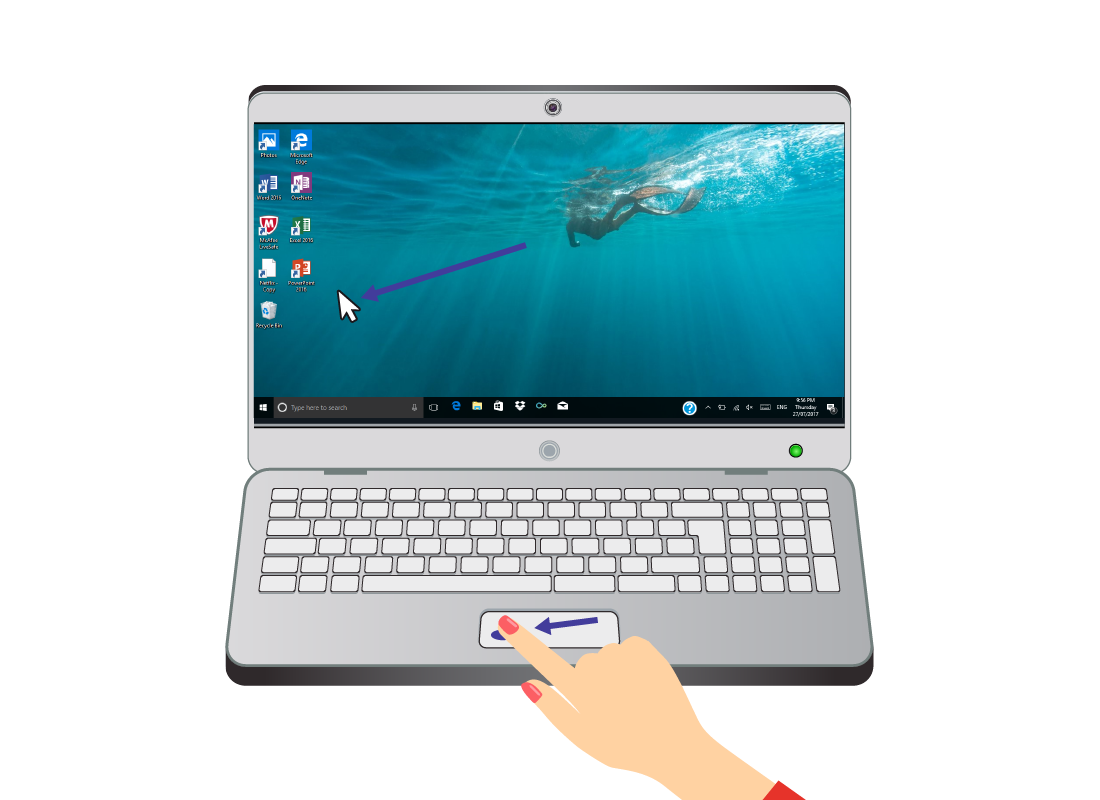 A laptop showing the cursor moving across the screen as someone slides their finger across the touchpad