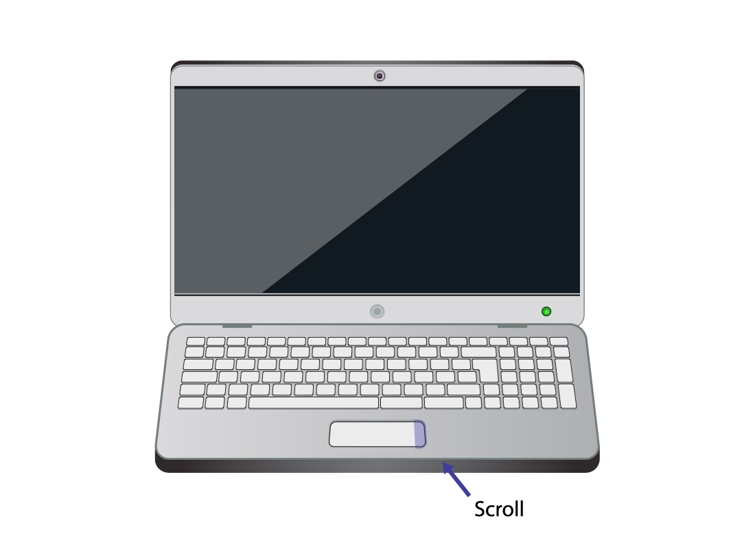 A laptop computer with the special scroll zone highlighted on the touchpad