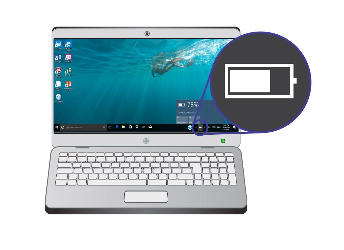 A laptop computer with the battery symbol highlighted and enlarged