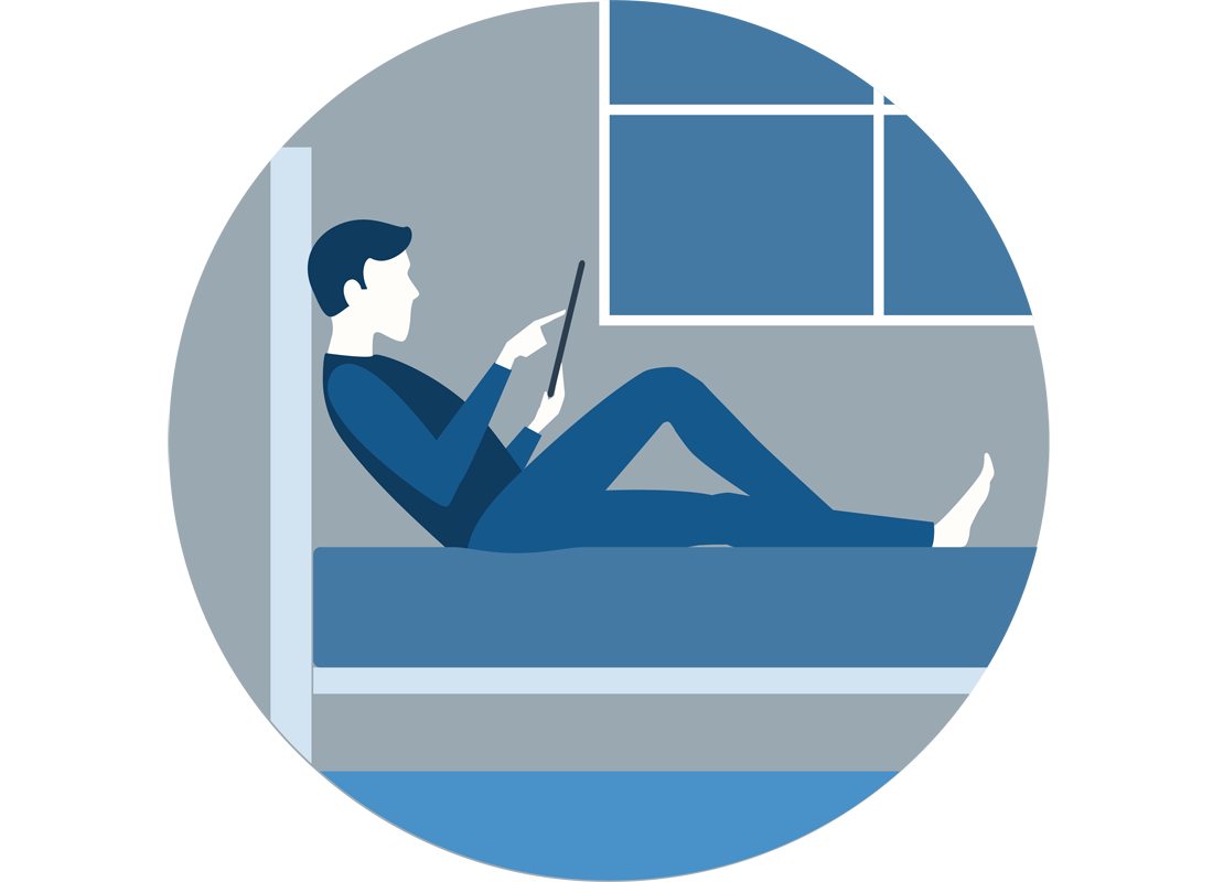 A graphic of someone relaxing with their tablet