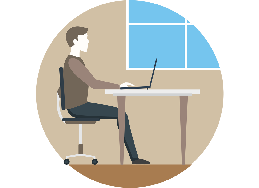 A graphic of someone using their laptop at a desk