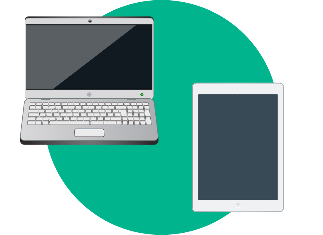A laptop and a tablet side by side to compare