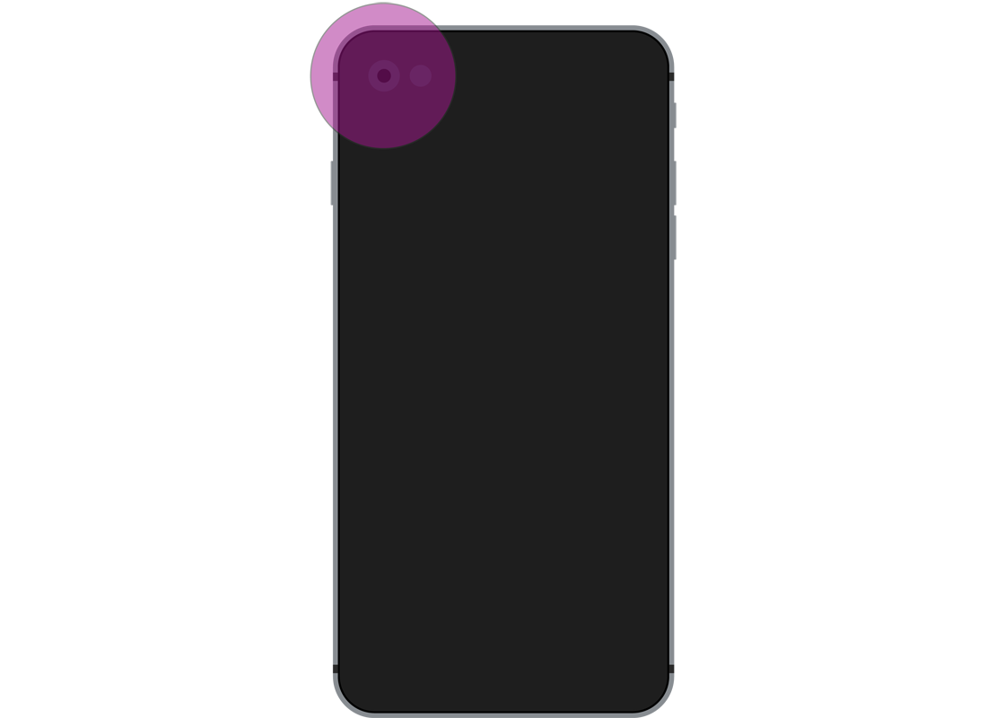 The back of a smartphone with the location of the camera highlighted