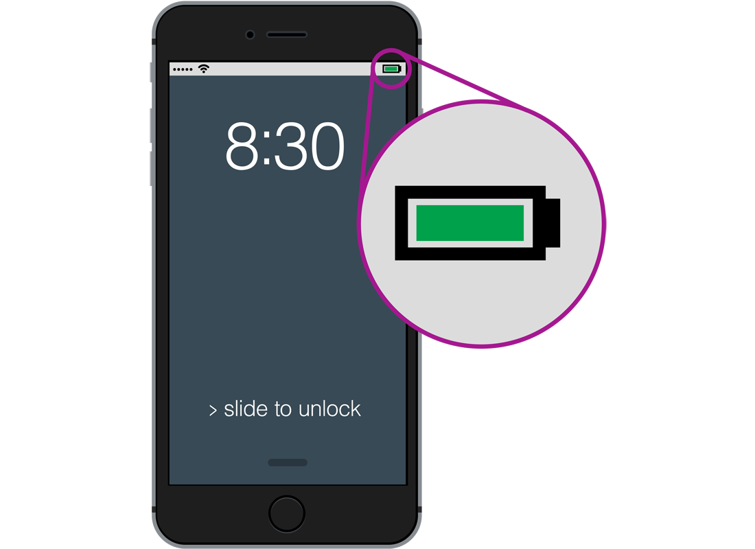 A smartphone showing a full battery symbol