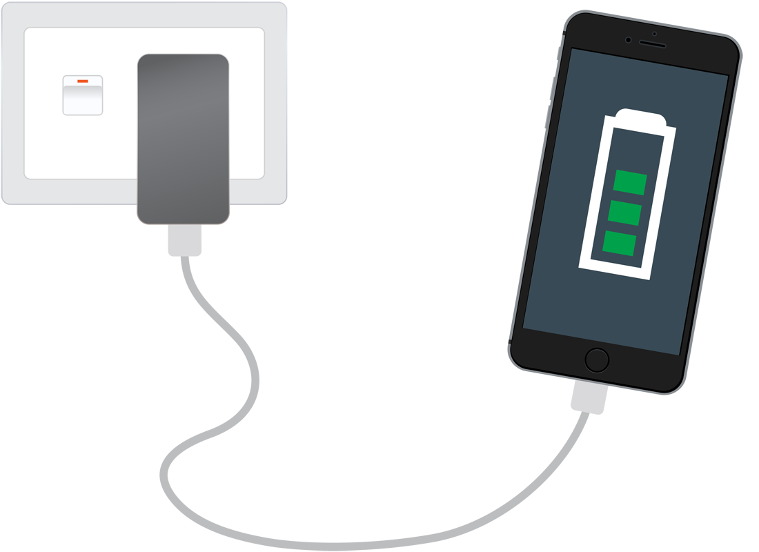 A smartphone plugged into the mains to recharge its battery