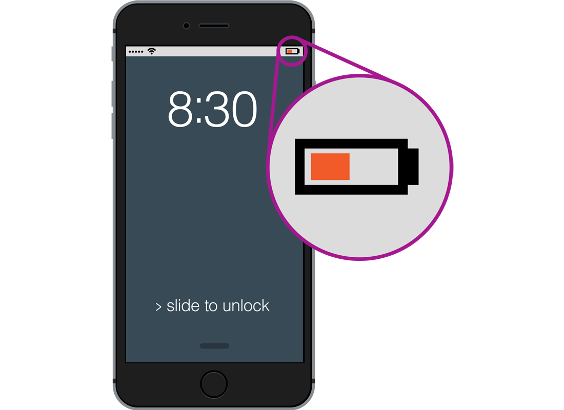 A smartphone showing a low battery symbol