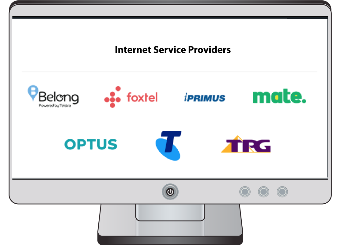 A computer screen with logos of some internet service providers