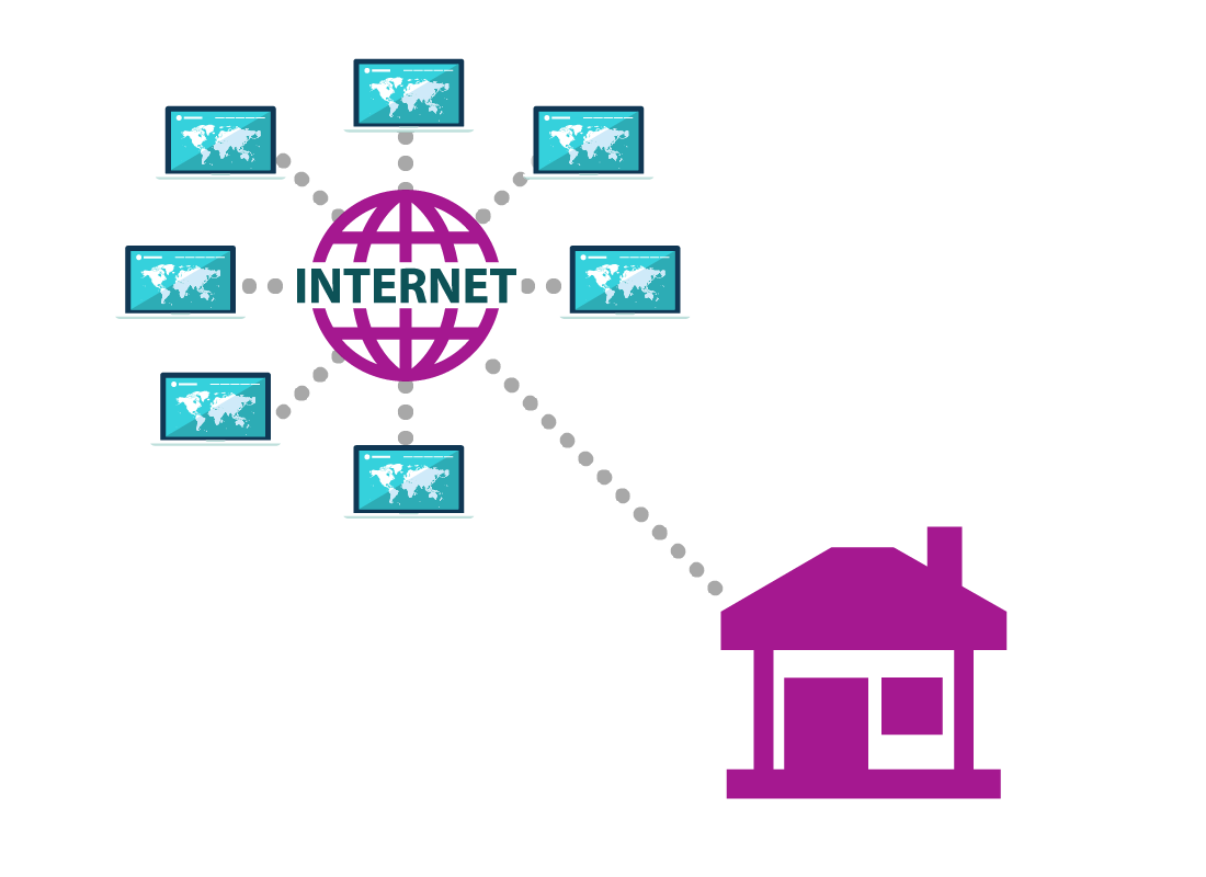 A graphic showing a home connecting to the internet
