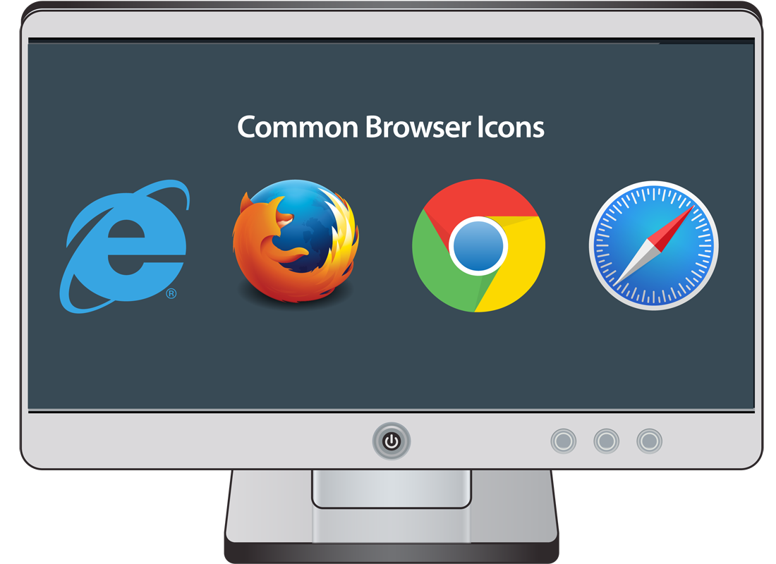 A computer screen showing the logos of four of the most popular web browsers, Internet Explorer or Edge, Firefox, Chrome and Safari
