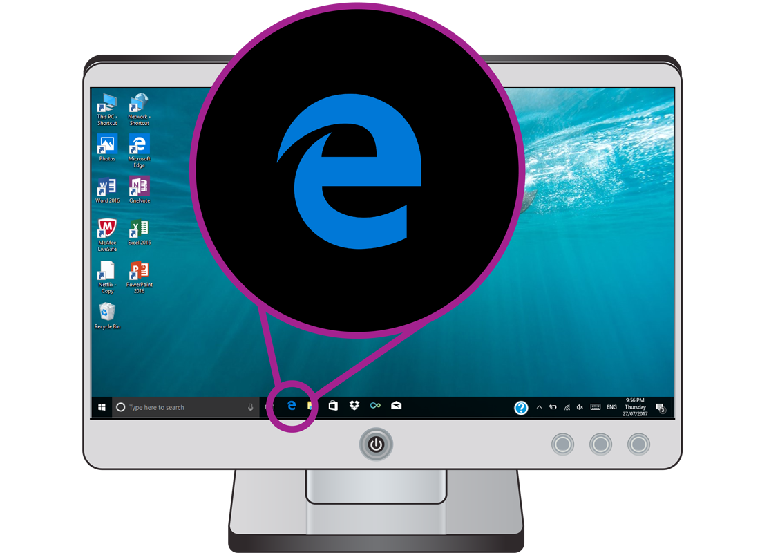 A computer screen with the Internet Edge logo highlighted