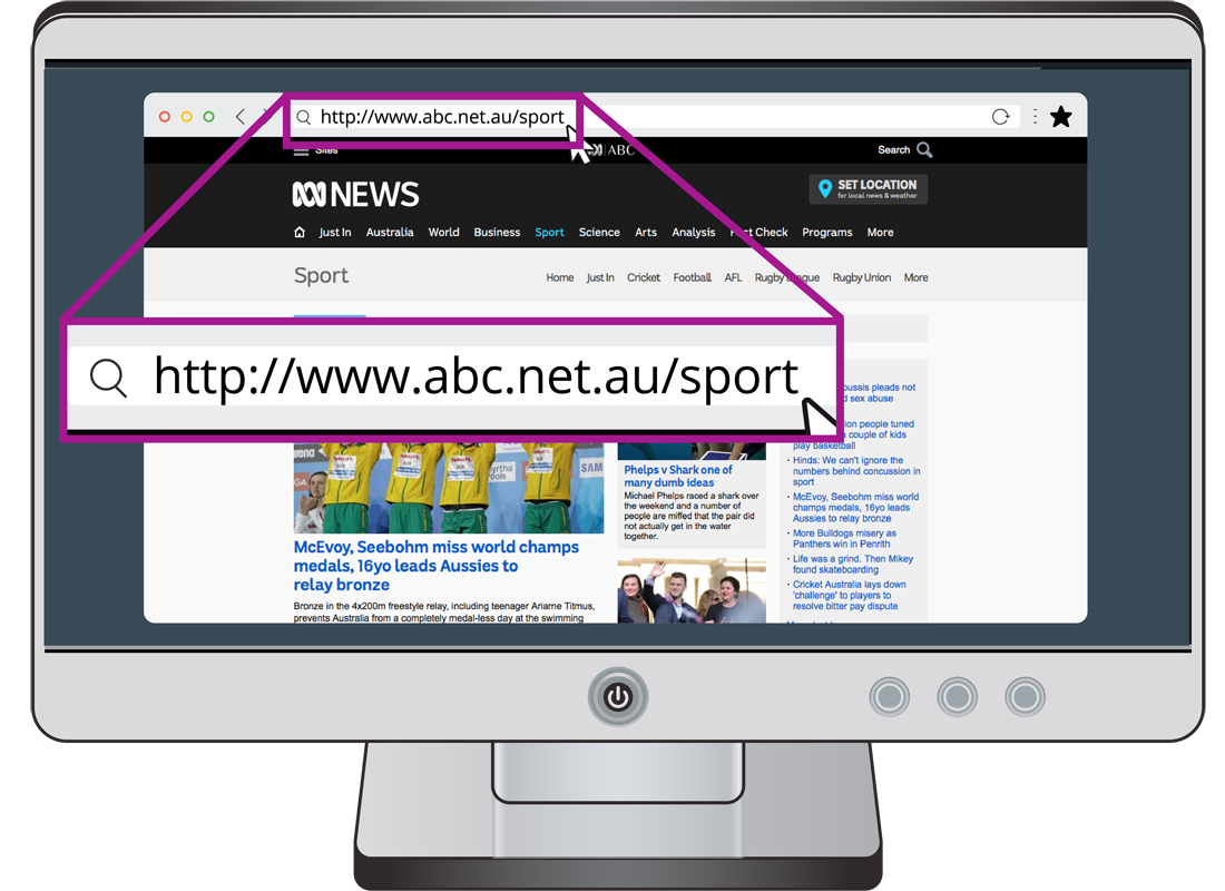 A web address for the ABC sports page enlarged and highlighted on a computer screen