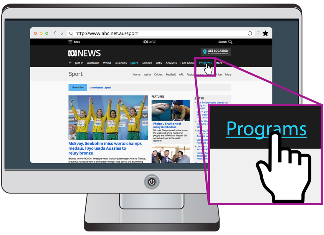 A computer showing the ABC website, with the Programs web link highlighted and the pointer displaying as a hand