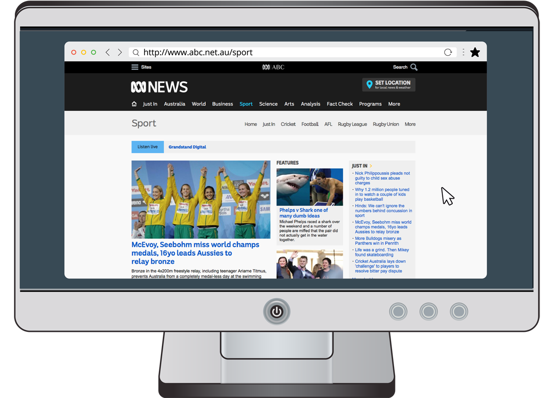 A computer screen displaying the ABC News web page