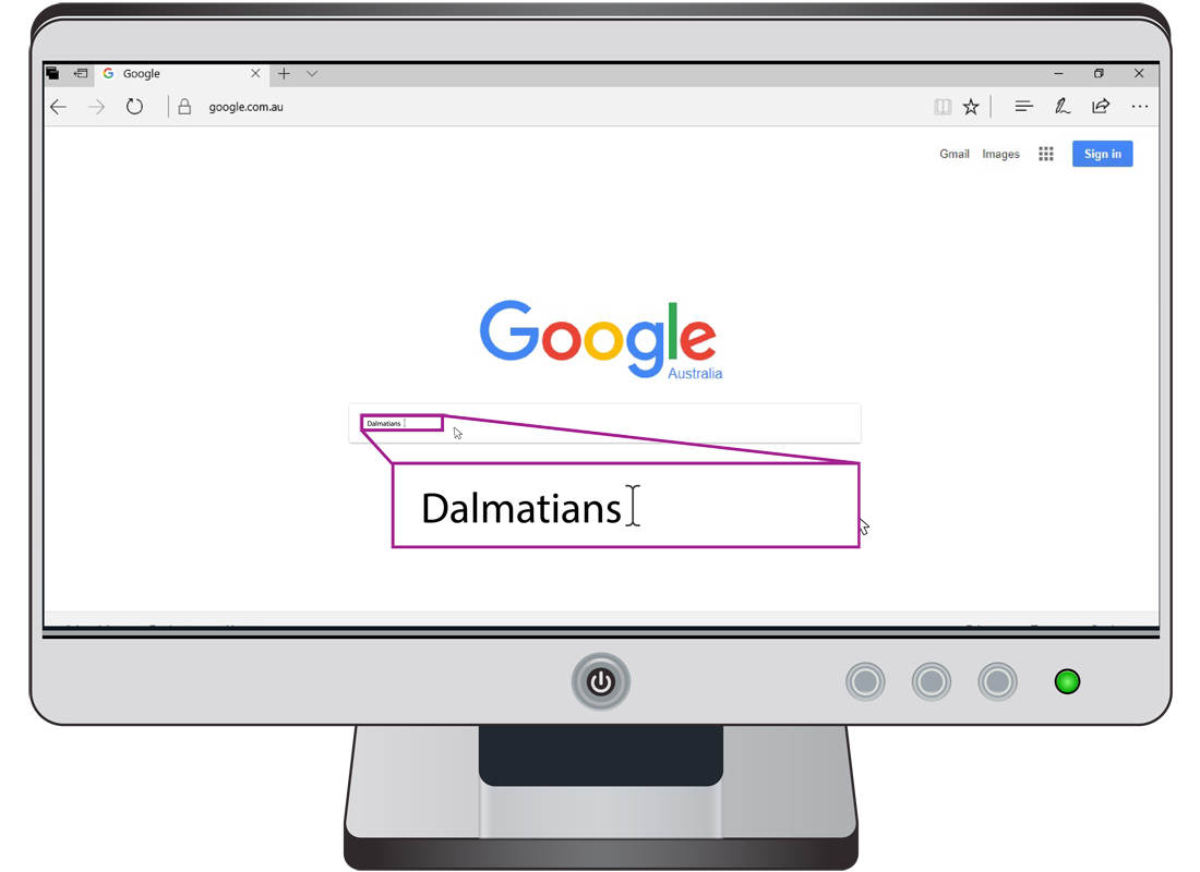 A Google search for Dalmatians using the search bar