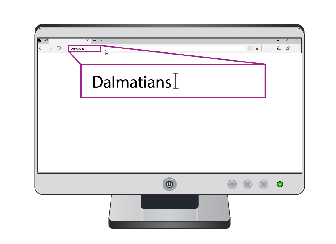 A close up of a search for Dalmatians using the web browser address bar