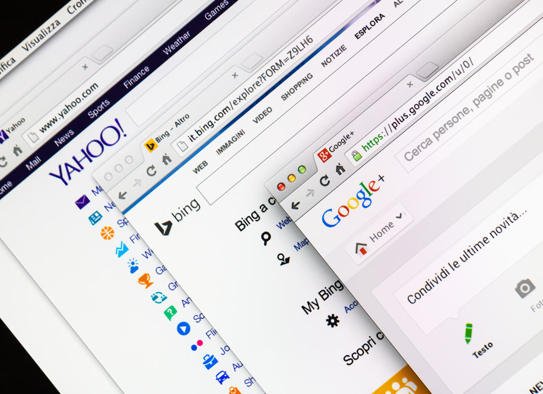 A stock image of a selection of different search engine web pages