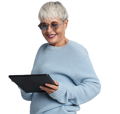 A confident older woman using a tablet device.
