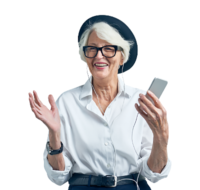 A smiling 70-year-old woman enjoying listening to a podcast on her mobile phone with earphones.