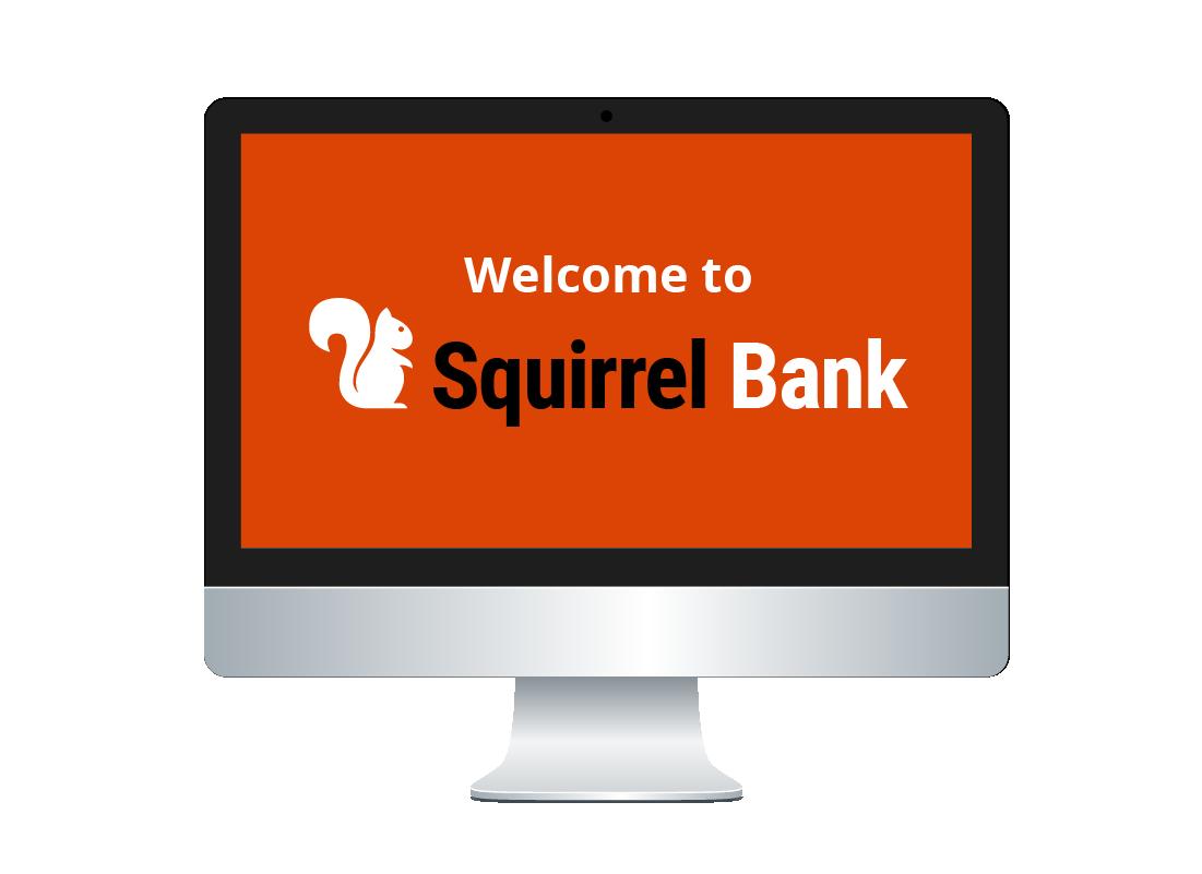A desktop computer screen showing our fictional Squirrel Bank logo