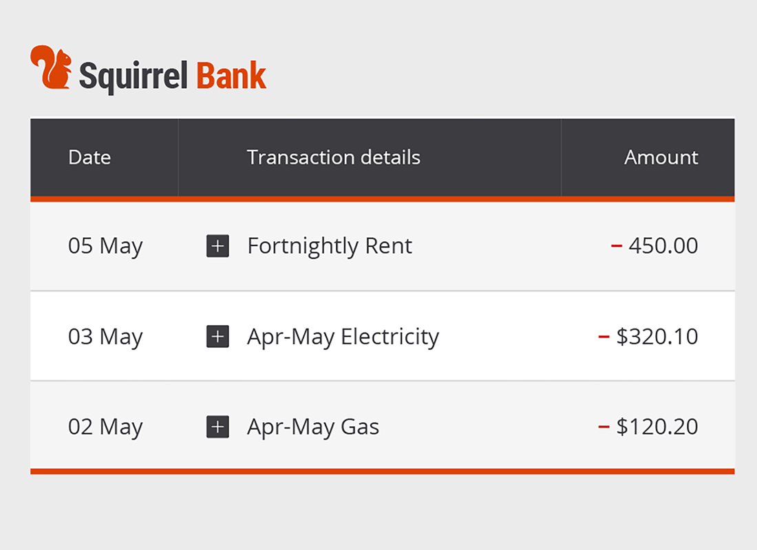 A summary page of recent bill payments from a typical online bank account