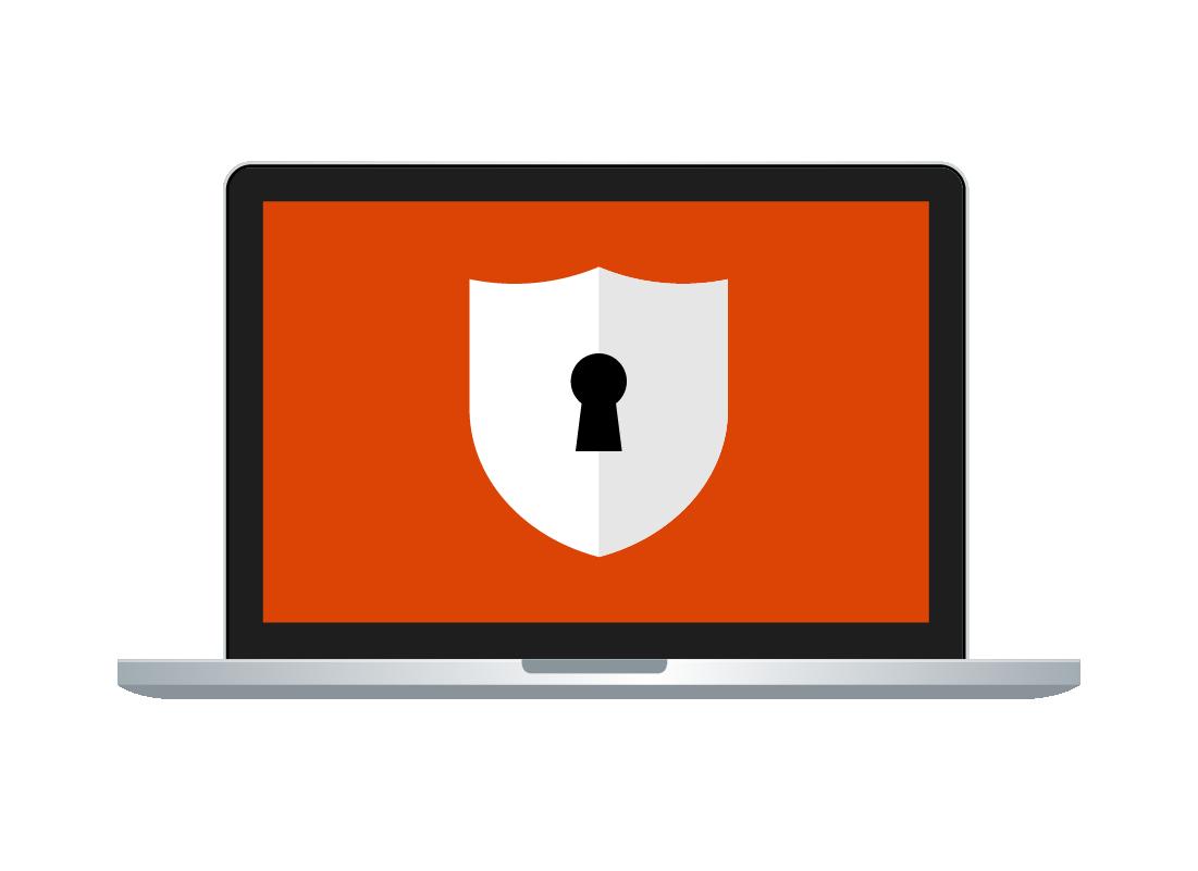 An image of a laptop computer showing a padlock symbol