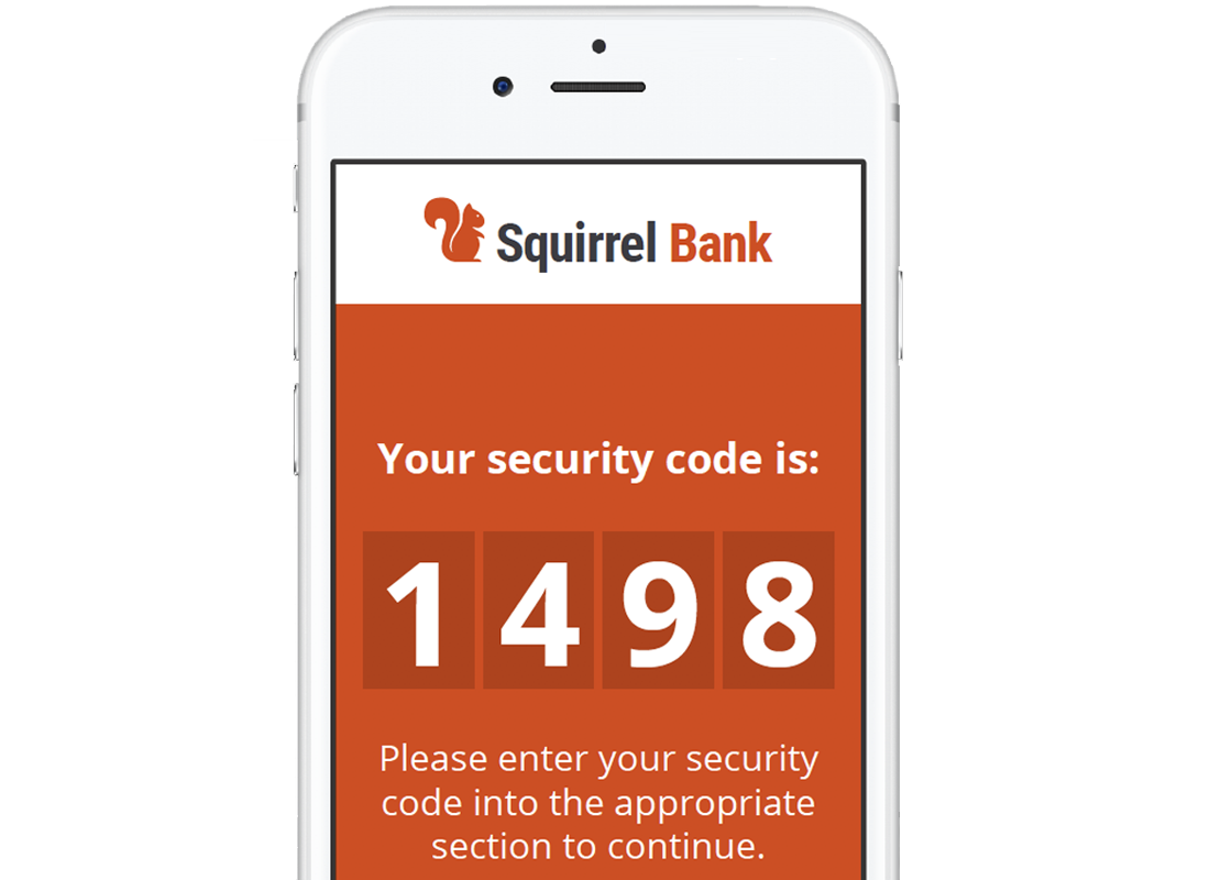 An image of a mobile phone showing a Two Factor Authentication code sent by our bank