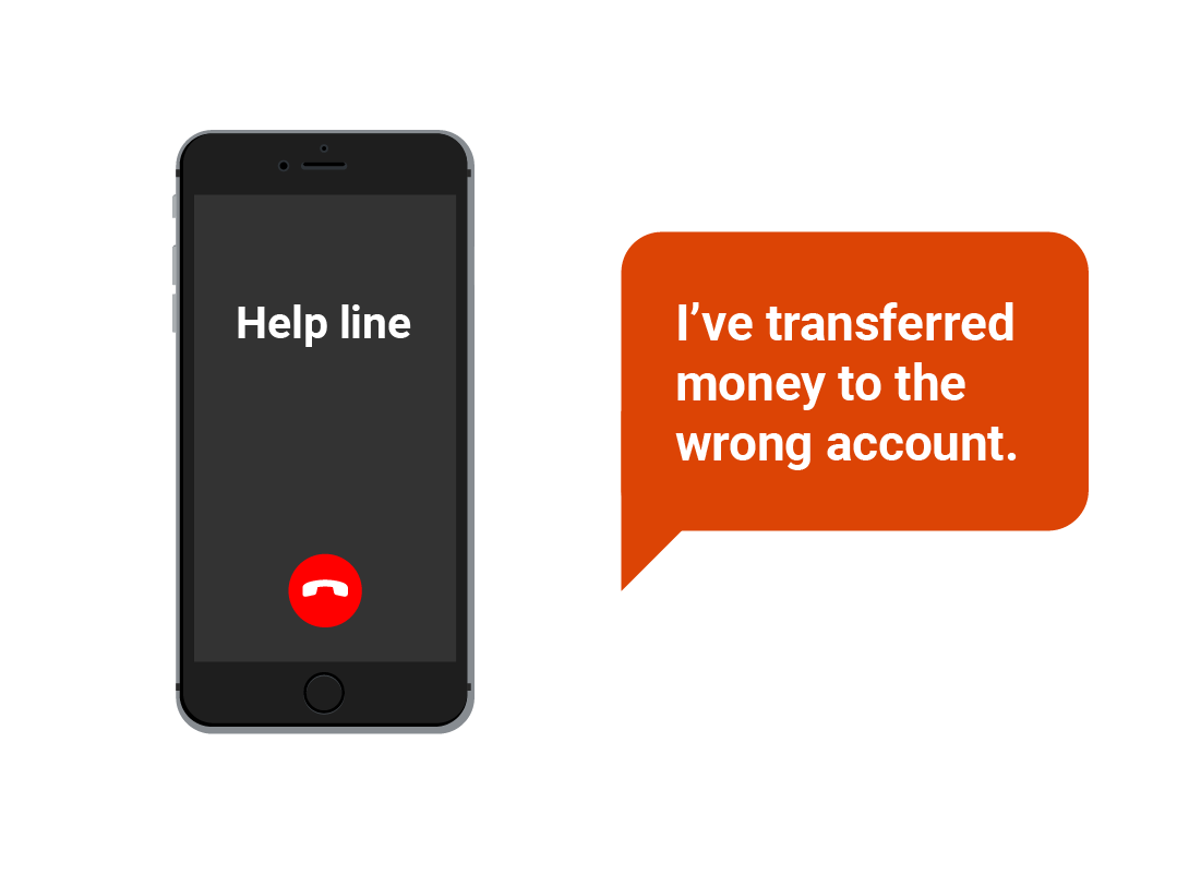 An image of a call to a bank's help line to report an issue