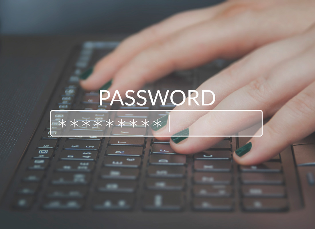 Typing a strong password on a computer keyboard