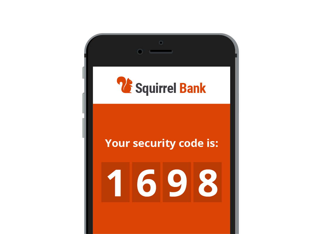A mobile phone screen showing a special code from the bank