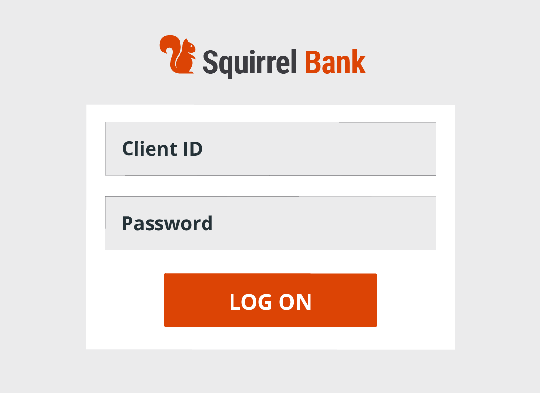 A typical log on screen for a banking website