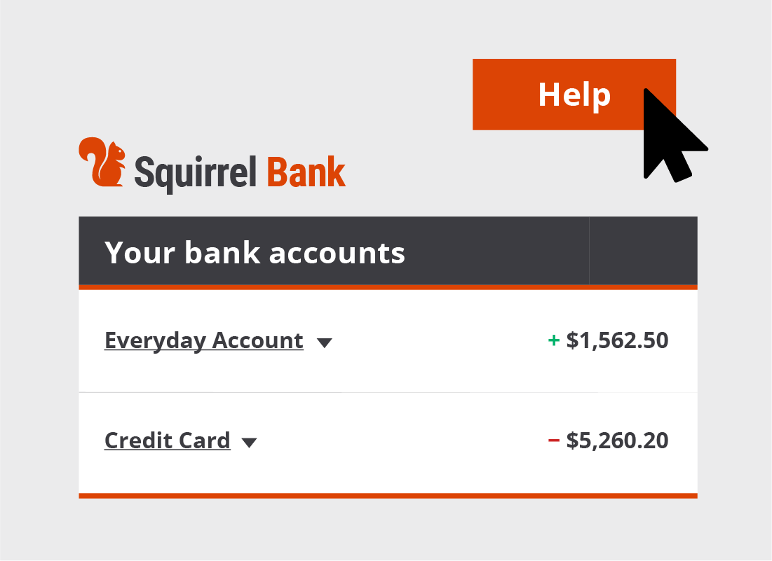 The Help button is usually located somewhere very prominent on the banks website