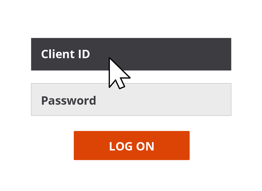 The Client ID text field is highlighted on a log in screen