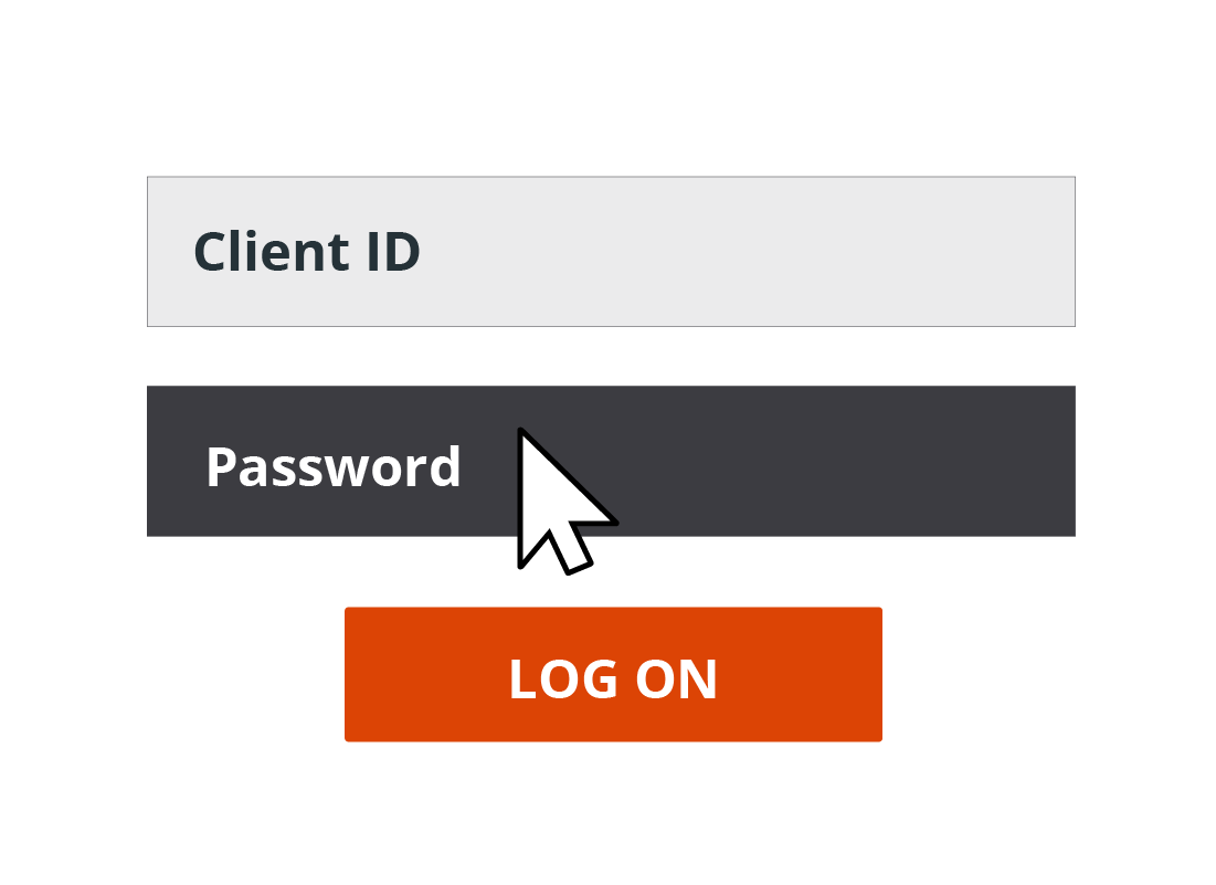 A Password text field is highlighted on a log in screen