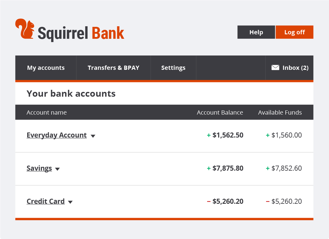 The Squirrel Bank accounts summary page