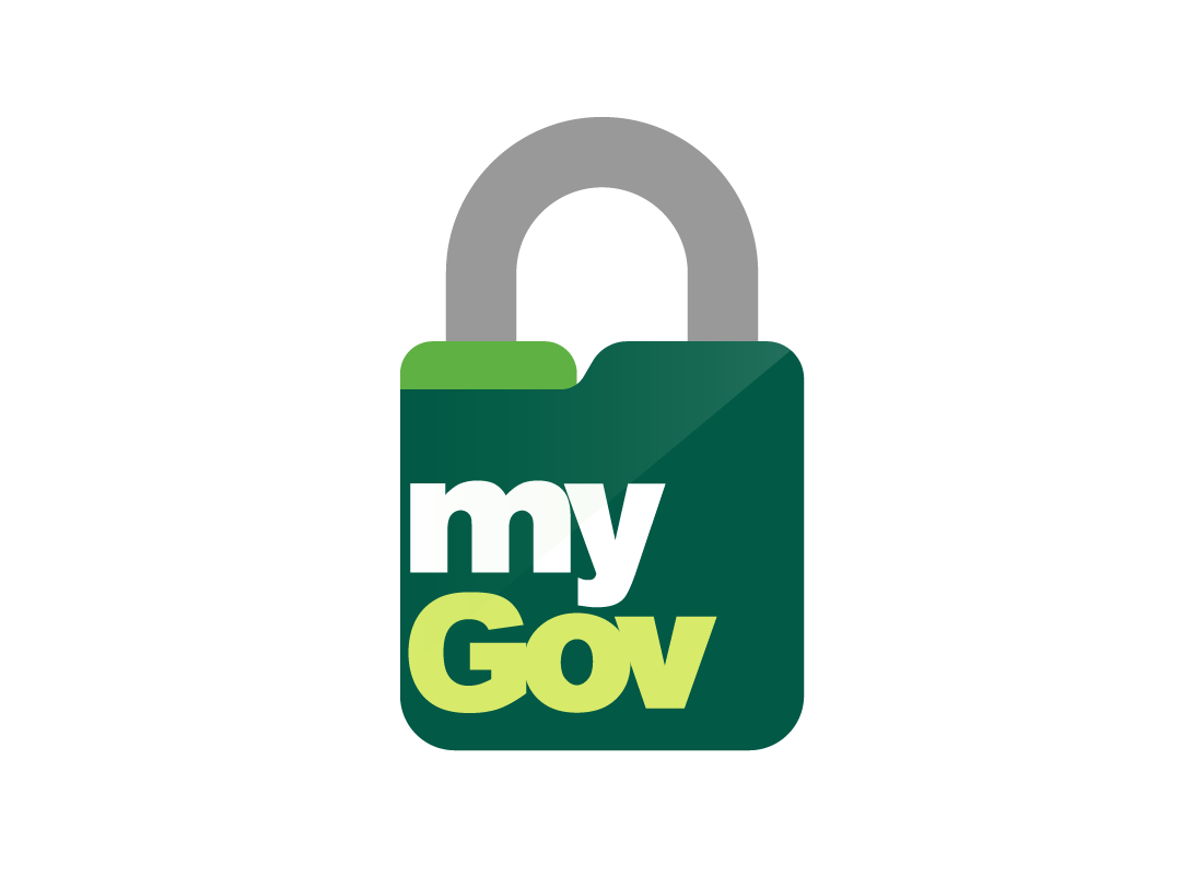 The myGov logo placed over a locked padlock