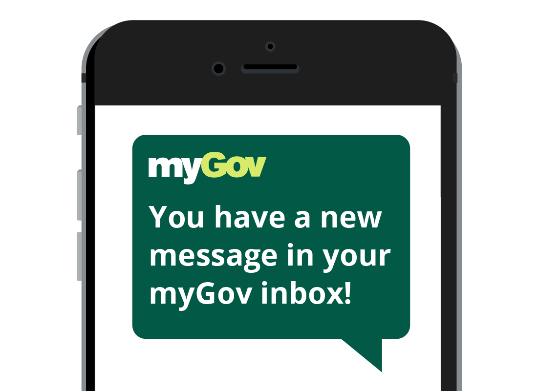 A mobile phone with a message from myGov