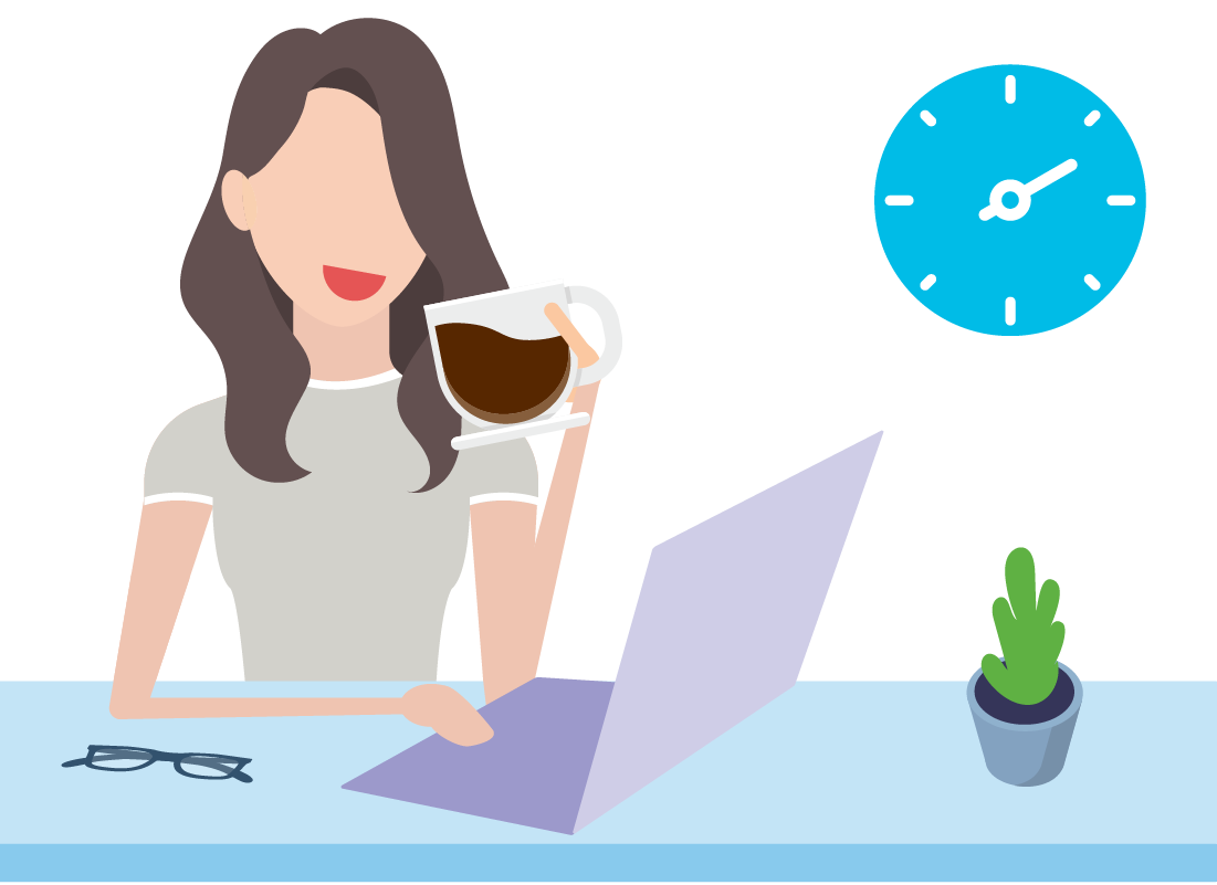 Image of lady working from home on her computer