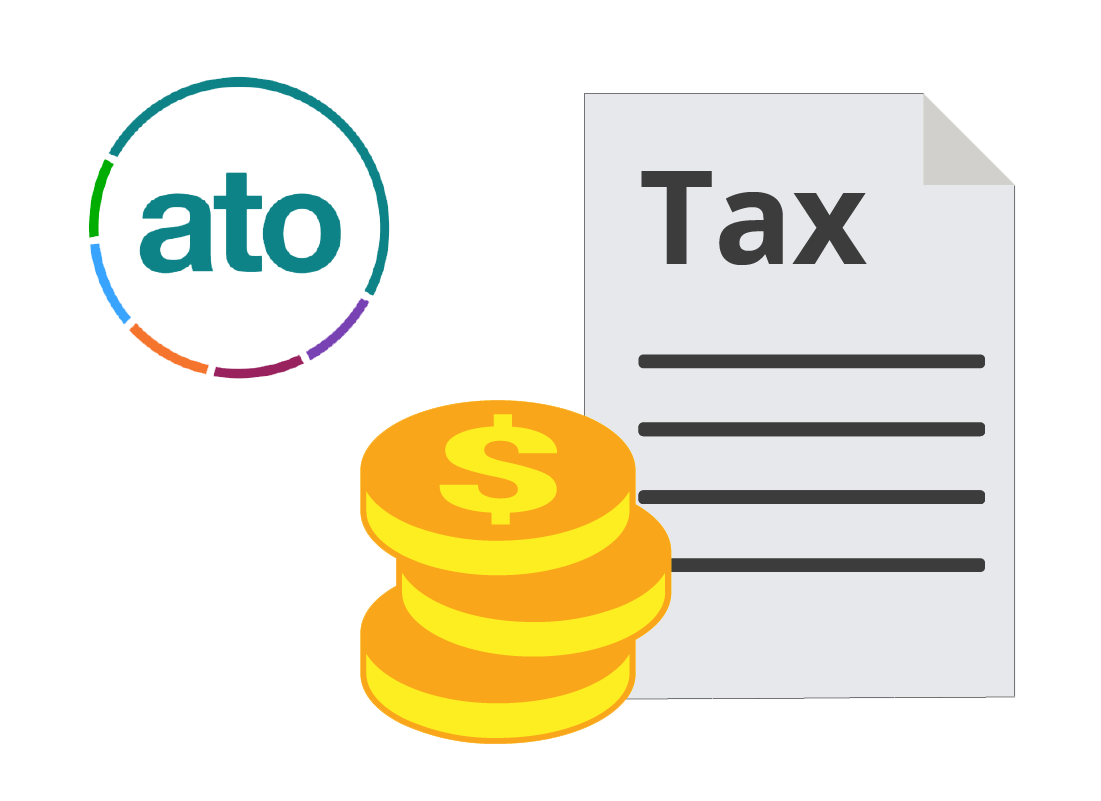 ATO logo with tax return and money