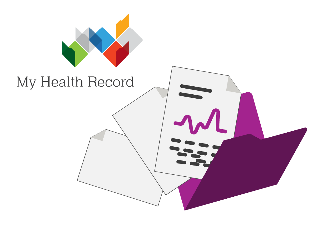 My Health Record logo with health documents in folder