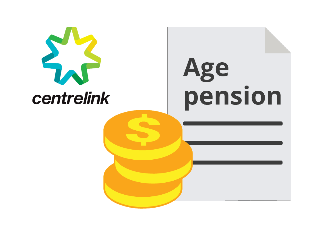Centerlink logo with Aged pension entitlement document